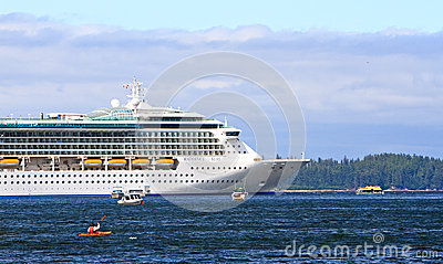 Alaska - Kayak, Fishing Boats, Cruise Ship Editorial Photography