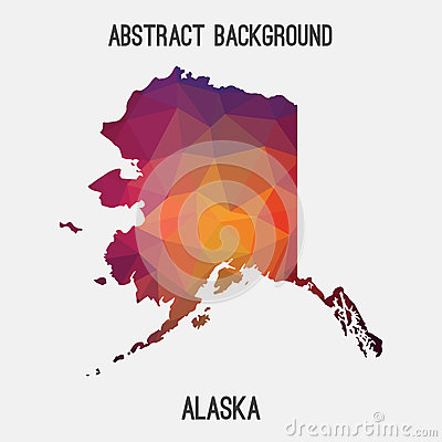 Alaska map in geometric polygonal,mosaic style. Vector Illustration