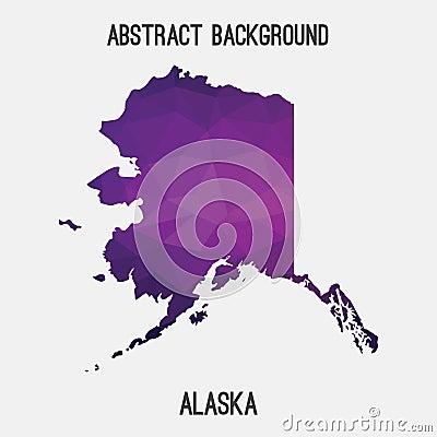 Alaska map in geometric polygonal,mosaic style. Cartoon Illustration
