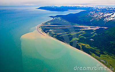 Alaska mountains and coastline (aerial view) )