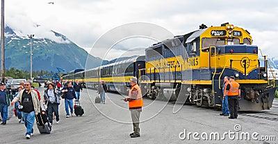 Alaska Railroad Cruise Ship Drop Off Editorial Photo