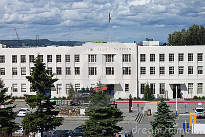 The Alaska Railroad Depot in Anchorage Editorial Stock Image