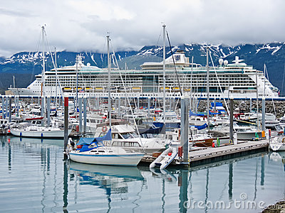 Alaska Seward Small Boat Harbor and Cruise Ship Editorial Photography