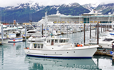 Alaska Seward Small Boat Harbor Cruise Ship Editorial Photo