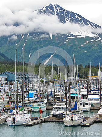 Alaska Seward Small Boat Harbor Resurrection Peaks Editorial Photography
