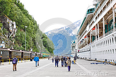 Alaska Skagway Railroad Dock Cruise Ships Editorial Photo