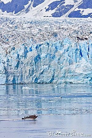 Alaska Small Boat Massive Hubbard Glacier Editorial Photography