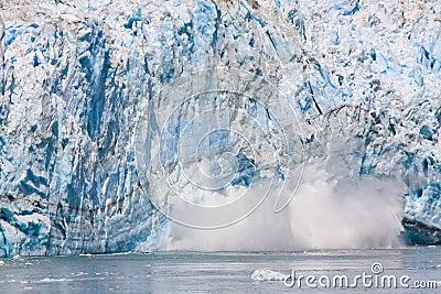 Alaska Sun Lit Calving Glacier Ice