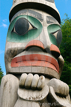 Free Alaska Totem Pole Face Stock Photography - 3760622