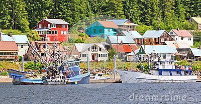 Alaska Town of Hoonah Waterfront Fishing Boats Editorial Photo