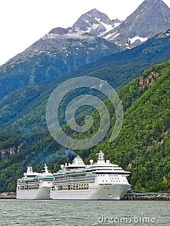 Alaska - Two Cruise Ships in Skagway Editorial Stock Photo
