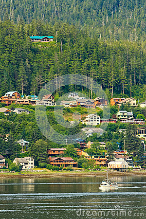 Alaska - West Juneau Waterfront Homes Editorial Stock Image