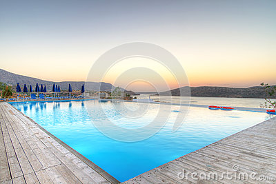 Alba sopra la baia di Mirabello su Creta
