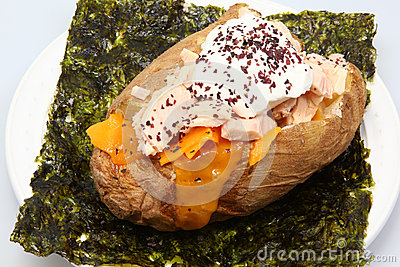 Albacore Tuna stuffed Baked Potato on Seaweed