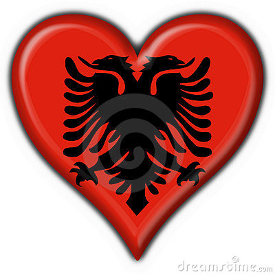 Albanian button flag heart shape