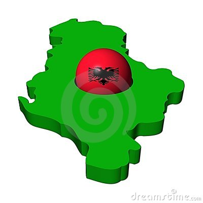 Albanian flag sphere with map