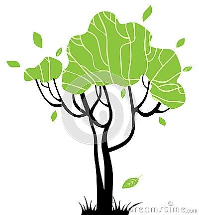 alberi stilizzati per il vostro disegno fotografia stock