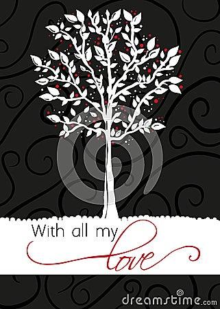 Albero - cartolina d auguri - con tutto l mio amore
