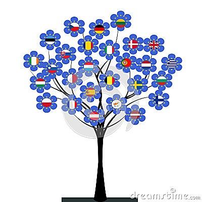 Albero dell 39 unione europea immagini stock immagine 32933414 - Immagine dell albero a colori ...