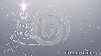 Albero di Natale di caduta della neve del fondo di natale bianco archivi video