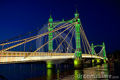 Albert Bridge, Thames, London England UK at night