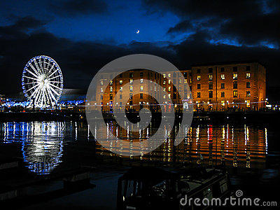 Albert Dock at night, Liverpool Editorial Stock Image
