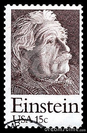 Albert Einstein USA postage stamp Editorial Stock Photo