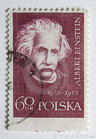 Albert Einstein on a vintage post stamp from Polan