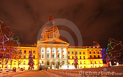 Alberta legislature building at Christmas