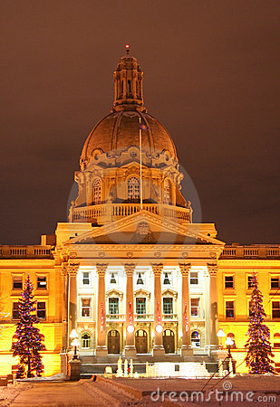 Alberta legislature building at Christmas