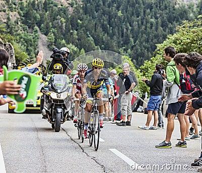 Alberto Contador Climbing Alpe D Huez Editorial Photography