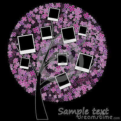 Album on floral tree with photos