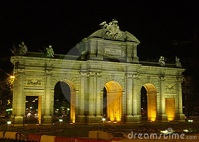 Alcala gate at night in Madrid