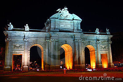 Alcala Puerta in Madrid with night lights