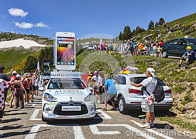 Alcatel One Touch Car in Pyrenees Mountains Editorial Photo