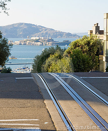 Alcatraz and cable car rails