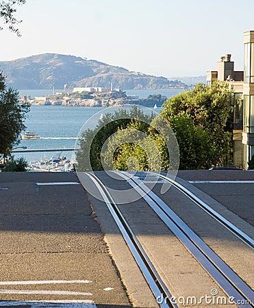 Alcatraz and cable car rails