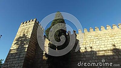 Alcazar de paredes de Sevilha e de catedral de Sevilha filme