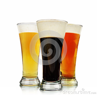 Free Alcohol Beer Glasses On White Royalty Free Stock Image - 26292306