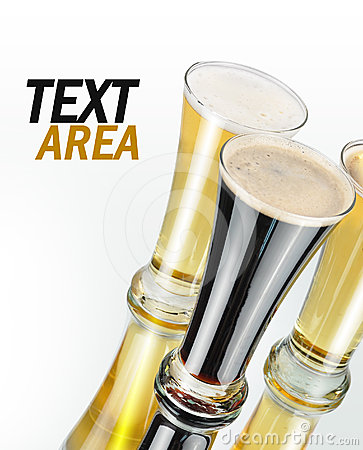 Alcohol Beer Glasses on White with Text