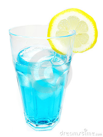 Alcohol blue curacao cocktail with lemon