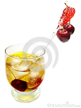 Alcohol brandy cocktail with cherry