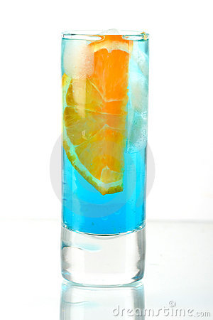 Alcohol cocktail with blue curacao and orange