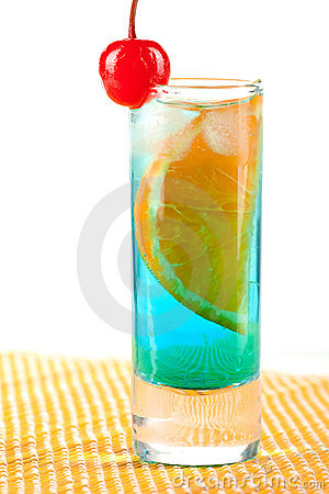 Alcohol cocktail with blue curacao, orange and mar