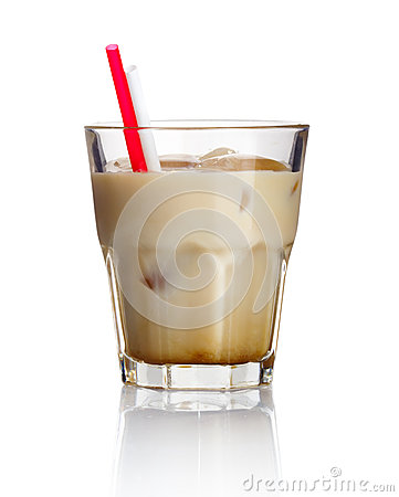 Alcohol cocktail  white russian  isolated on white
