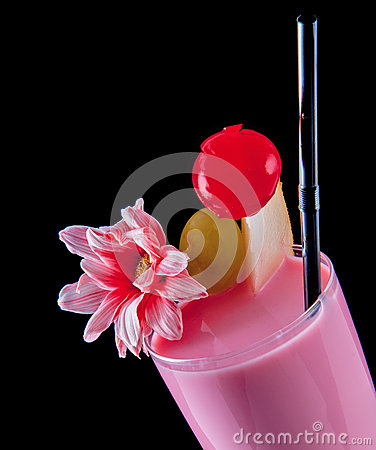Alcohol drink, pink  cocktail with flowers, strows, isolated black