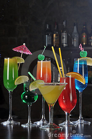 Alcohol drinks on a bar