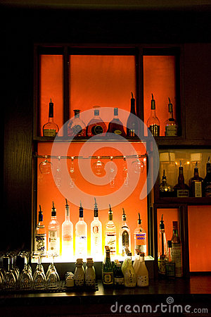 Alcohol drinks in bar Editorial Stock Photo