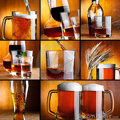 Alcohol drinks collage