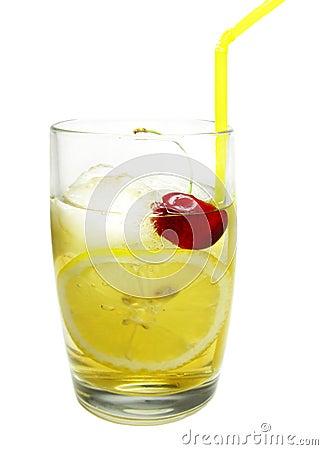 Alcohol john collins cocktail with lemon cherry